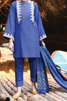 Blue Viscose 3 Piece Suit - Almirah Unstitched