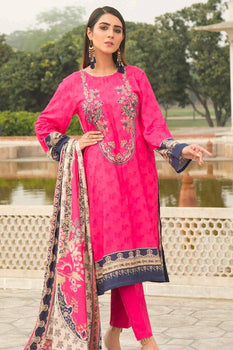 Pink Embroidered Linen Suit - Warda