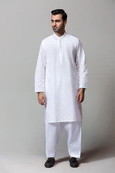 White Chikan Suit - Gul Ahmed