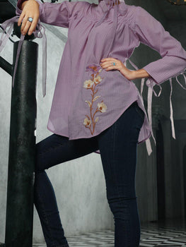 Light Purple Cotton/Dobby Net Tunic - Almirah