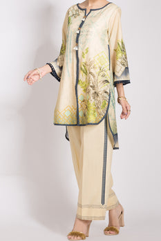 Beige Lawn 2 Piece Suit - Almirah Unstitched