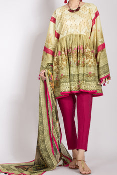 Lime Yellow Lawn 2 Piece Suit - Almirah Unstitched