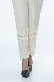 Cream Embroidered Trousers - LSM