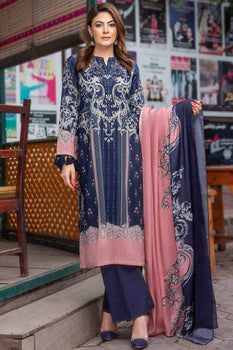 Modish Brocade Navy Blue (3 Piece) - Limelight Cambric Collection
