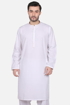 White Cotton Shalwar Kameez - Edenrobe Collection