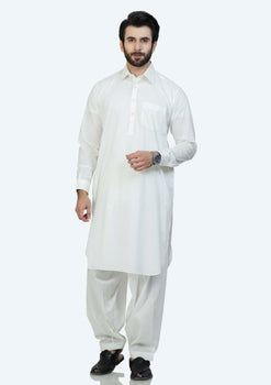 White Cotton Shalwar Suit - Bonanza