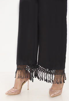 Black Wide Lace Trousers - Stonez