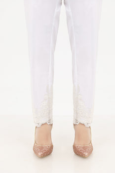 White Sparkle Lace Trousers - Stonez