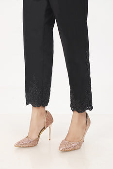 Black Sparkle Lace Trousers - Stonez