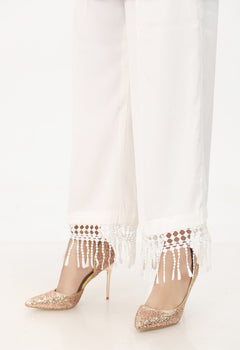 White Wide Lace Trousers - Stonez