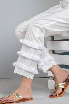 White Frilled Trousers - Stonez