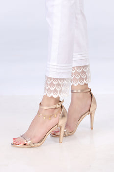 White Embroidered Lace Trousers - Stonez