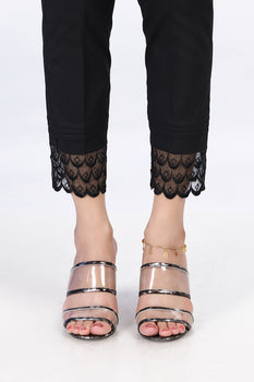 Black Embroidered Lace Trousers - Stonez