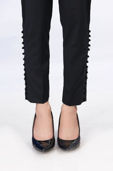 Black Buttoned Trousers - Stonez