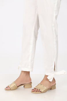 White Bow Trousers - Stonez