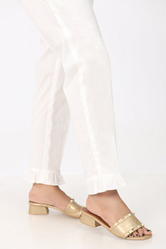 White Frill Trousers - Stonez