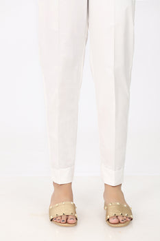 White Fold Trousers - Stonez