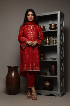 Red Jacquard 3 Piece Suit - Senorita