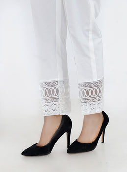 White Embroidered Trousers - Stonez