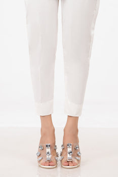 White Simple Trousers - Stonez