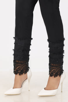 Black Lace Border Trousers - Stonez