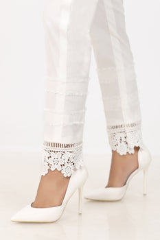 White Lace Border Trousers - Stonez
