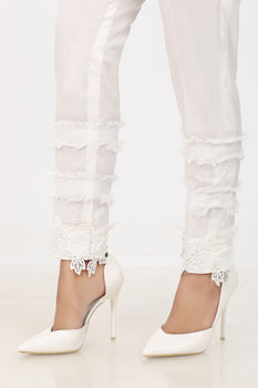 White 3D Lace Trousers - Stonez