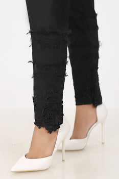 Black 3D Lace Trousers - Stonez
