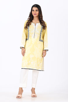 Yellow 2 Piece Printed Suit - Ethnic By Outfitters
