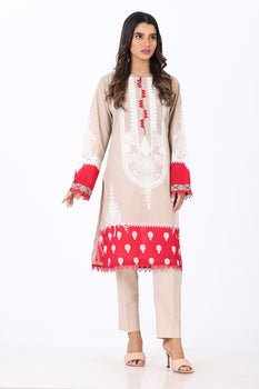 Beige 2 Piece Printed Suit - Ethnic By Outfitters