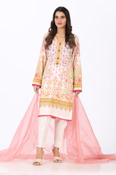 Peach 2 Piece Printed Suit - Ethnic By Outfitters