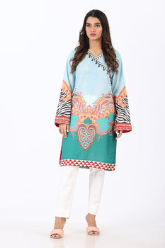 Blue Printed Kurta - Ethnic By Outfitters
