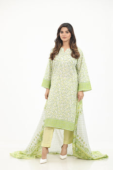 Green 3pc Lawn Suit  - Gul Ahmed