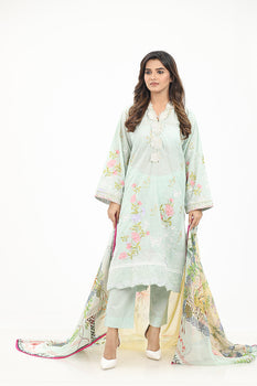 Turquoise Embroidered 3pc Lawn Suit  - Gul Ahmed