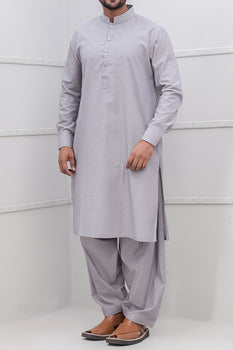 Grey Band Collar Shalwar Kameez - Raf Raf