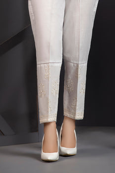 Embroidered White Trousers By LSM Lakhany