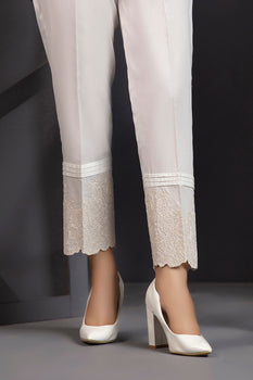 Embroidered Floral White Trousers By LSM Lakhany
