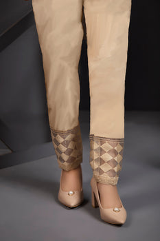 Embroidered Organza Beige Trousers By LSM Lakhany
