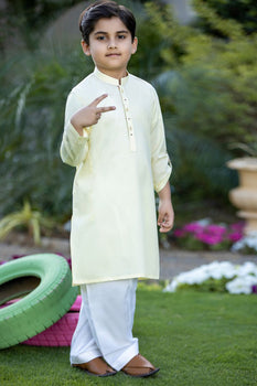 Light Yellow Kurta - J. Junaid Jamshed Festive Boys