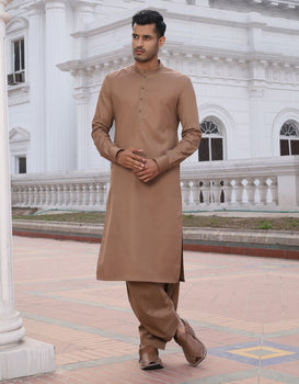 Light Brown Kameez Shalwar - Junaid Jamshed