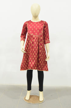 Red Chamois Silk Kurta - Bonanza Kids
