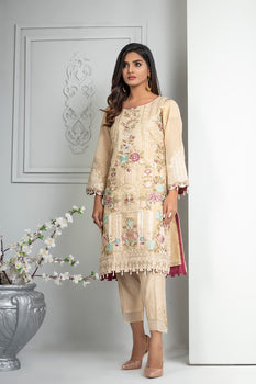 Floral Embroidered Beige Kurta - Lakhtai Winter Collection