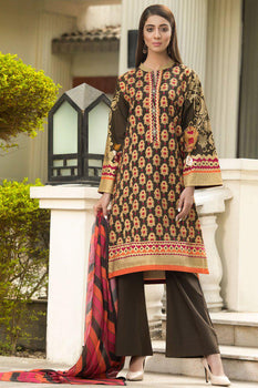 Brown Winter Cotton Suit - Lime Light (2 Piece)