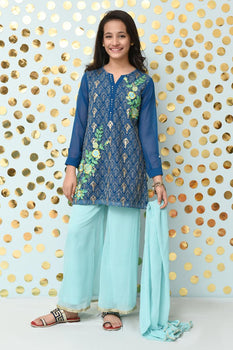 OFW-177 Teal Blue 3 Piece Suit - Ochre