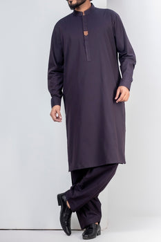 Navy Blue Band Collar Shalwar Kameez - Raf Raf