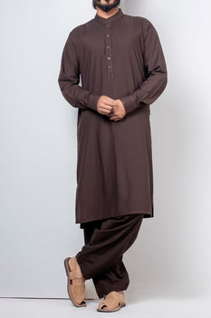Brown Band Collar Shalwar Kameez - Raf Raf