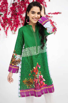 Green Kurta SCN-122 - Gul Ahmed Bagh-e-Gul Collection