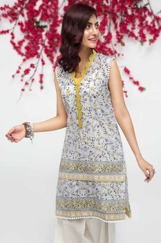 Grey Kurta SCN-89 - Gul Ahmed Bagh-e-Gul Collection