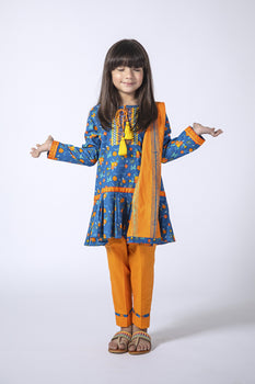Blue and Orange Cambric Cotton 3 Piece Suit  - Senorita Winter Collection