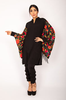 Black Embroidered Kurta - Stonez